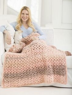 "Lazy Girl Crochet Blanket ~ easy level ~ 45"" x 60"" ~ make it in 5-1/2 hrs. ~ worked in 2 strands ~ great as a last-minute gift ~ FREE - CROCHET"