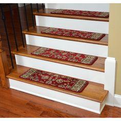 Dean Flooring Company Dean Premium Carpet Stair Treads - Elegant Keshan Claret 31 x 9 (Set of 13) : 31 Inch Width