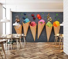 Different Taste Ice Cream 187 AJ Wallpaper Restaurant Interior Design, Shop Interior Design, Cafe Design, Store Design, Ice Cream Theme, Ice Cream Parlor, Ice Cream Shops, Ice Cream Cart, Ice Cream Business