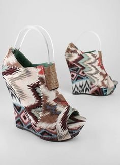stitched tribal wedge bootie