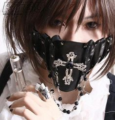 'Phantom Silence Gothic Lolita Punk Crucifix Leather PVC Grommet Strap Face Mask'