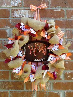 Custom School/Team/Gameday Burlap and Ribbon Wreath with Football Sign BASIC DESIGN. $70.00, via Etsy.