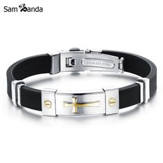 Newest Men Jewelry Black Silicone Rubber Bracelet Silver/Golden Cross Stainless Steel Trendy Men Bracelets MCC0262 -  Get free shipping. We give you the best deals of finest and low cost which integrated super save shipping for Newest Men Jewelry Black Silicone Rubber Bracelet Silver/Golden Cross Stainless Steel Trendy Men Bracelets MCC0262 or any product.  I hope you are very happy To be Get Newest Men Jewelry Black Silicone Rubber Bracelet Silver/Golden Cross Stainless Steel Trendy Men…