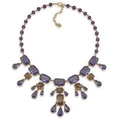 Nwot Carolee Purple Crystal Gemstone Gold Necklace