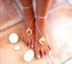 Seashell barefoot sandals crochet beige off white by SpringFresh, $12.00