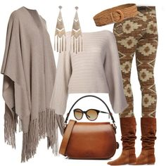 Women's fashion long open front cashmere fringe sweater duster cardigan, print soft stretch denim skinny jeans, suede slouch boots and smooth leather hand shoulder bag in brown tan. Southwest Neutrals by simply-one on Polyvore featuring 360 Sweater, Ralph Lauren and Polo Ralph Lauren