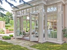 Orangery with Bi-fold Doors - traditional - Sunroom - Other Metro - Vale Garden . Orangery with Bi Orangerie Extension, Orangery Extension Kitchen, Kitchen Orangery, Conservatory Kitchen, Exterior Design, Interior And Exterior, Exterior Doors, French Exterior, Big Houses Exterior