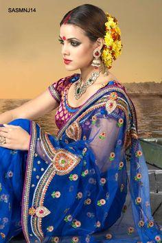 $141 Dazzling Net Embroidered Saree From Cbazaar