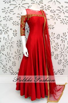 Exclusive Full Flair Red Silk Outfit With Elegant Handwork With Cold Shoulder Look. Fabric Is Pure Silk. Personally work and Design looks Nice and elegant.