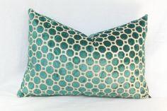 Teal velvet pillow. 13 x 20. Robert Allen Geo by JoyWorkshoppe