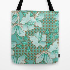 Oriental Floral Pattern Tote Bag by patterndesign - $22.00