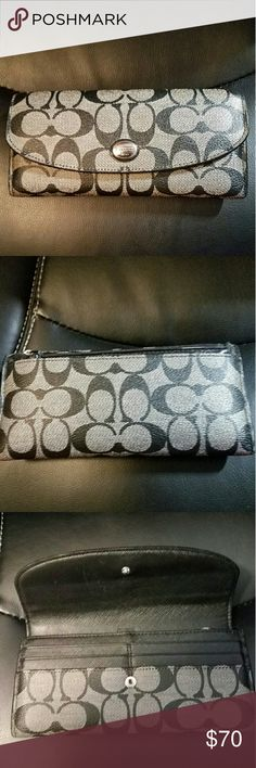 ☃ PRICE CUT!! Coach signature Charcoal Wallet Classy leather wallet. Has 14 card slots, coin purse in back and 3 money compartments. In excellent condition. Coach Bags Wallets