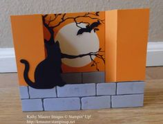 Halloween Card made with Stampin' Up!'s Spooky Cat Stamp Set and Cat Punch.  For details, go to my Wednesday, September 13, 2017 blog at http://www.stampinup.net/blog/2130686/entry/sept_13