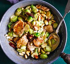 Evenly-sized sprouts are ideal in a stir-fry with Asian flavours such as soy sauce, chilli and ginger - swap the pork for chicken, tofu or prawns if you prefer Pork Recipes, Lunch Recipes, Healthy Dinner Recipes, Delicious Recipes, Sweet Recipes, Honey Chicken, Fried Chicken, Pork Ham, Honey Mustard Sauce