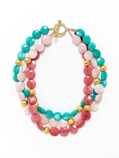 3-Strand Cherry, Teal, & Light Pink Quartz Necklace by KEP - a great chunky necklace!
