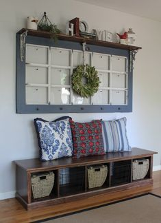 Storage Bench and Upcycled French Door - June 15 2019 at French Country Rug, French Decor, French Country Decorating, French Bench, Old French Doors, Old Doors, Front Doors, Repurposed Furniture, Home Furniture