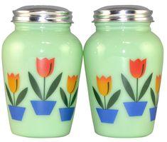 Image detail for -Jade or Jadeite Glass Salt and Pepper Shaker Set - measures 4 1/2 ...