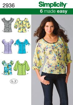 ***Simplicity 2936 Pattern - Blouse, Top***. Misses' Blouse with sleeve variations.