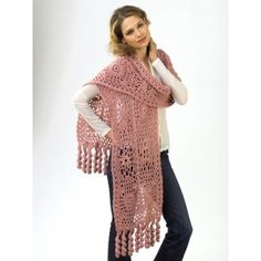Caron yarn presents this beautiful lace wrap. Six different lace motifs are used while making this crochet wrap. This crochet pattern can be made a few different ways.