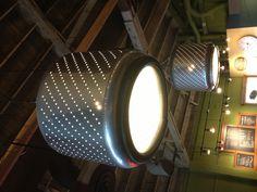 Repurposed Dryer Drum. Lighting for post modern industrial settings.
