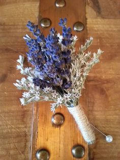 Dried Lavender Boutonniere with white German statice. Rustic boutonniere, simple bout, Wedding boutonierre, grooms flowers