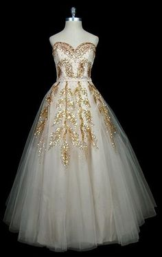 Dior 1950s Vintage lace & gold couture bridal gown.