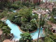 The beautiful lazy river at the Aulani resort, Hawaii