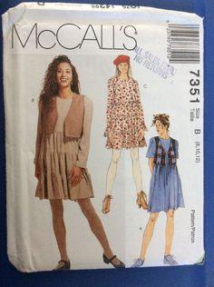 Vintage Pattern New Uncut McCall's 7351 Dress Lined Vest Misses Size 8-10-12  | eBay