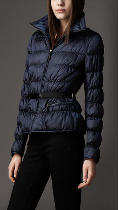 Belted Peplum Puffer | Burberry $995 Navy Size XS or S