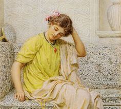 Hairpins - Albert Joseph Moore(1841–1893) was an English painter,known for his depictions of langorous female figures set against the luxury and decadence of the classical world.