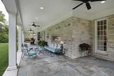 This gallery of patio design ideas offers pictures of different styles of outdoor patios. Find out which patio design is best for your home's backyard. Concrete Patios, Bluestone Patio, Flagstone Path, Patio Stone, Outdoor Patio Designs, Outdoor Spaces, Outdoor Living, Outdoor Decor, Indoor Outdoor Fireplaces