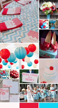 Love this Aqua, Red and White color scheme for an event! Could be adapted to a dinner party, birthday party, bridal or baby shower, the possibilities are endless!