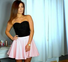 Beautiful summer dress. Light pink eco-leather skater skirt and heart shape gorset black lace.
