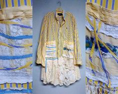 Yellow Whimsy Jacket Tunic 2X 3x 4x Plus Lace Blue by DivineRagz