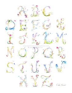 Watercolor Alphabet Flower Lettering by MilkandHoneybread on Etsy