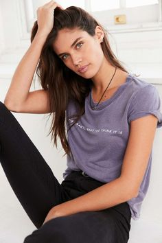 Sara Sampaio. Love the chill vibe and the color of the shirt