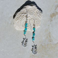 Sleeping Beauty Turquoise earrings, southwest style sterling feather earrings, Sleeping Beauty Mine, silver and turquoise earrings, boho by KarmaKittyJewelry on Etsy