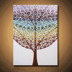50% SALE Painting Abstract Acrylic Flower Tree Painting Chakra Rainbow Chakras Flowers Blossoms 18x24 High Quality Original Modern Fine Art