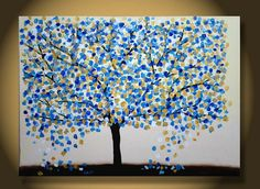 36x24 CUSTOM original Large Abstract Tree Contemporary Painting Textured Modern Palette Knife Impasto Landscape Metallic Fine Art by Orit