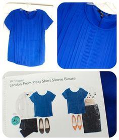 19 Cooper Landon Front Pleat Short Sleeve Blouse-Great color! The pleat detail is super fun- wonder if it's flattering?