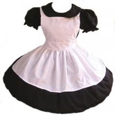Gothic Alice in Wonderland Dress and Apron Goth Lolita Cosplay Costume Black Cotton Dress White Apron Custom Size Plus Size
