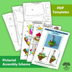 """WHAT YOU GET ONCE YOU BUY ►A 25-page PDF template in A4 format (Letter) ►A 15-page PDF template in A3 format (Tabloid) ►A PDF document (10-page) including An easy-to-follow, illustrated step-by-step instruction (""""Assembly scheme""""), Recommendations on the best types of paper and glue to use, Getting started tips and more advanced tips. (everything in English) #cutandfold #pepakura #lighthouse #pdfpattern #template #floatingisland #island  #paper #papier #simple #stayhome  #etsyitem  #download Paper Glue, Paper Art, Paper Crafts, Lemon Green Colour, Origami Lights, Origami Models, Small Sculptures, Origami Easy, Paper Models"""