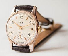 Vintage wristwatch ZIM unisex gold brown tonesUSSR by SovietEra, $47.00