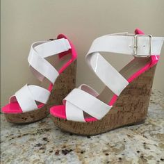 Madden Girl White & Pink Patent Leather Wedges 6 In perfect condition. Heel height: 4.5 in All man made materials Madden Girl Shoes Wedges