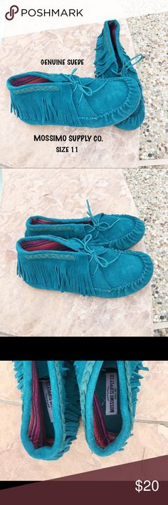 Genuine Suede Fringe Turquoise Moccasins 💜 These shoes are so cute and comfy. They were only worn a couple of times. Made to last forever. Get these while you can! 💕 Mossimo Supply Co Shoes Moccasins
