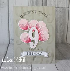 LizDesign Stampin Up Balloon Celebration Number of Years Card