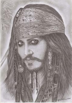 I miei disegni : Johnny Depp - Jack Sparrow (2015)