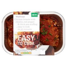 Waitrose Easy To Cook chicken breasts with chick pea stuffing dairy free and soya free