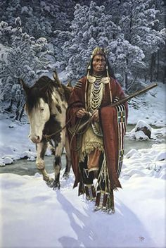 Winter of - Chuck Ren - 2009 November Auctions (Western Art and Antique Firearms) Native American Horses, Native American Warrior, Native American Paintings, Native American Pictures, Native American Beauty, Native American Artists, American Indian Art, Native American History, American Indians