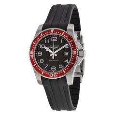 Longines HydroConquest Black Dial Black Rubber Men's Watch L36894592 - Jomashop